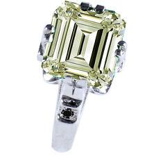 3.10 ct VVS1/OFF WHITE EMERALD MOISSANITE & NATURAL BLACK DIAMOND SILVER RING