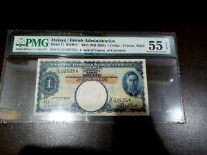 Malaya 1941 1 Dollar Banknote PMG 55 EPQ
