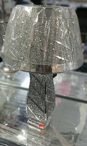 Crushed Diamond Silver LED Vase glitter Lamp Table Shade with free Led bulb