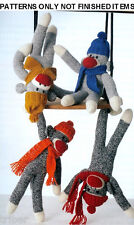Sock Monkeys Knitting Crochet PATTERNS  Lion Elephant Giraffe Toys NEW Book