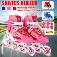 Flashing Inline Skates with Protective Gear Set for Kids Men Women Roller Blades