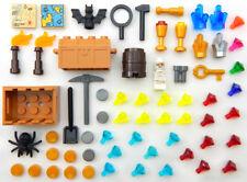 50+ PIECE LEGO TREASURE LOT new parts accessories gold diamonds jewels minifig