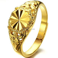 Gold Tone Ladies Ring Floral Promise Engagement Wedding Band Size Adjustable
