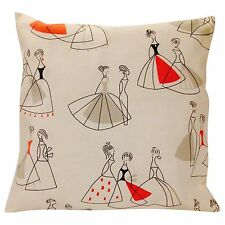 Sanderson Fifi Coral & Grey Cushion Cover 16'' Retro Chic 50's