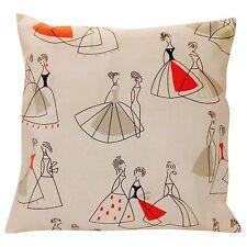 Sanderson Fifi Coral & Grey Cushion Cover 16'' Retro Chic 50's