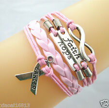 Infinity//Faith/Hope/Breast Cancer Awareness Sign Leather Braided Bracelet Pink