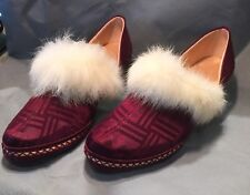 Vintage 30s Size 5 Maroon /Fur Trim Slippers Or Shoes Never Worn