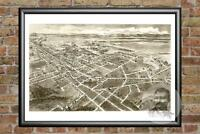 Old Map of Hickory, NC from 1907 - Vintage North Carolina Art, Historic Decor