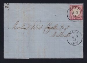 Germany Alsace 1872 1gr Small Shield Cover Metz to Mulhouse Horseshoe Cancel