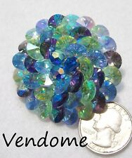 Vtg Signed VENDOME Hi-End Coro Pin/Brooch, Shades of Blue/Green Rivoli Crystals