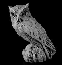 "Eagle Owl Marble Bird Figurine Russian Art Stone Animal Sculpture Statue 4.8"""