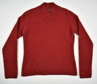 Prive Womens M Red 100% Cashmere Long Sleeve V Neck Sweater Pullover Collar