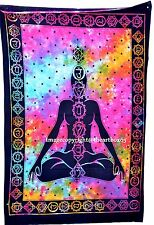 Indian Cotton Seven Chakra Small Tapestry Poster Ethnic Yoga Mat Wall Hanging Cm