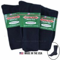 Big & Tall Men's Extra Wide Socks MEDICAL CREW 3-pack NAVY Size 11-16 #1220C