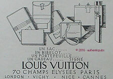 PUBLICITE LOUIS VUITTON SAC PORTEFEUILLE BIBELOT DE 1926 FRENCH AD PUB RARE BAG
