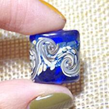 10pcs exquisite handmade Lampwork glass beads blue silver foil flower 15*15mm