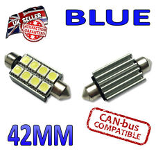 2 X 42mm CANBUS Festoon Azul LED Bombillas 8 SMD interior número de placa placa 264