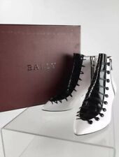 BRAND NEW W/RECEIPT $1,150 BALLY Mellody White & Black Ankle Boots / Booties 10