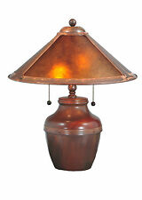 "BEAN POT BASE 19"" AMBER MICA Table Lamp RUSTIC 2 Light Pull Chains Copper Wash"