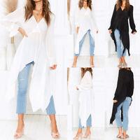 Women Summer Long Sleeve Loose T-Shirt Asymmetrical Hem Baggy Shirt Tops Blouse