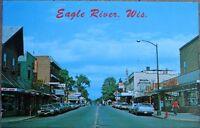 Eagle River, WI 1978 Chrome Postcard: Main Street - Wisconsin Wis