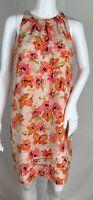 Ann Taylor Loft Floral Shift Dress Pink Orange Sleeveless Tiered Tuck Hem Size 6
