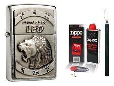 ZIPPO ® ACCENDINO Leo Stella caratteri Leone & Accessori L + R-S Bastone Accendino BLACK