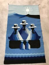 "HANDWOVEN WOOL WALL HANGING from EQUADOR 24"" x 33"" Blue/Wht/Blk"
