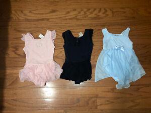 Toddler girl lot of 3 dance leotards Freestyle Jacques Moret pink black blue xs