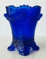 Degenhart Art Glass Cobalt Blue Colonial Drape Toothpick Holder Scallops Footed