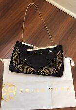 Trina Turk Large Black Beaded Clutch w/Silver Strap NWT & Dust Bag Org. $298