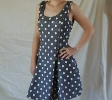 Women's Kimcine Charcoal White Polka Dot Sleeveless Summer Dress Size Large