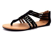 H&M Womens UK 4 EU 37 Black Faux Suede Gold Studded Flat Heel Gladiator Sandals