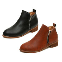 Womens Casual Booties Low Heels Block Ankle Boots Round Toe Zip Up Shoes