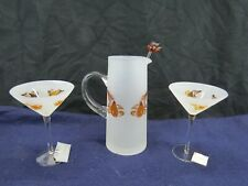Slant 3 pc. Frosted glass Pitcher and Martini Glass set