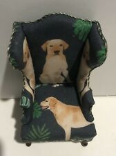 Dollhouse Miniatures Artisan OOAK Wing Chair Featuring Yellow Labs