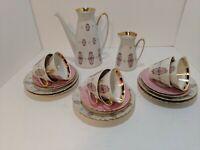 Vintage Russian CCCP Riga Porcelain Tea Dessert Set Service RPR Pink & Gold