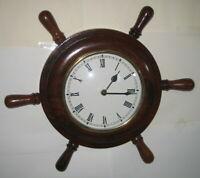 Wanduhr Steuerrad aus Holz Maritim Deko Uhr mit Quarzwerk Antik-Stil Makel 36cm