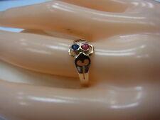 585er Rotgold mit Rubin+Saphir Ringgroße 52,5 Ringkopf B 8,1mmGewicht 1,53 gramm