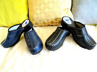 Navy, Black on the black sole classic Swedish style Wooden Clogs  Leather 6-9.5
