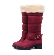 Women's Mid Calf Pull On Fur Chunky Low Heel Shoes Winter Snow Warm Boots