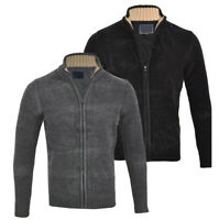 Mens Premium Chenille Full Zip Collared Cardigan Knitted Winter Top S-XXL