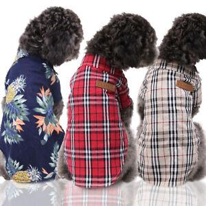 Small Cute Pet Dog Puppy Plaid T Shirt Lapel Coat Cat Jacket Clothes Costume New