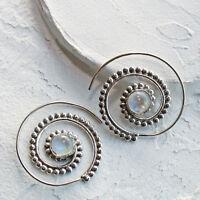 Mondstein Creolen Durchzieher Ohrringe Silber 925 Tribal Spirale Ohrhänger STS