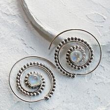 Mondstein Creolen Durchzieher Ohrringe Silber 925  Ohr Spirale Ohrhänger STS