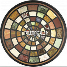 30'' Marble Confrence Office Table Indian Art Gemstone Inlay Work Bedroom H3970C