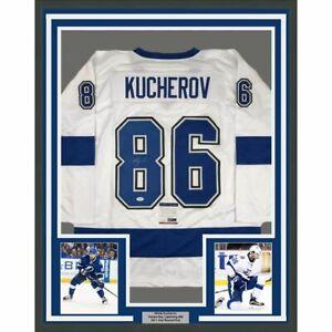 FRAMED Autographed/Signed NIKITA KUCHEROV 33x42 Tampa Bay White Jersey PSA COA