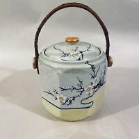 Vintage Gold Castle Chikusa Yellow Wicker Handle Biscuit Jar