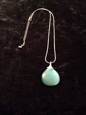 Turquoise Frosted Glass Pendant & Silver Chain Necklace Jewellery Christmas gift