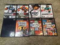 PS2  PlayStation Lot Of 8 Games Grand Theft Auto Madden Guitar Hero MLB